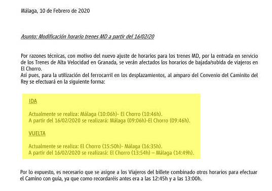Togtider til Caminito Del Rey fra februar 2020